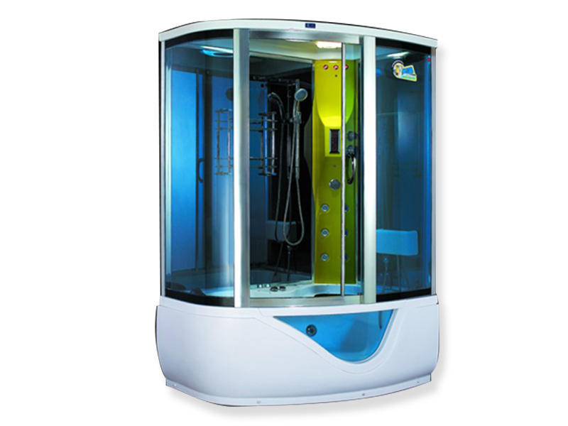Xavier -Best Steam Shower Units Blue Glass Steam Room With Massage Bathtub Zb1015