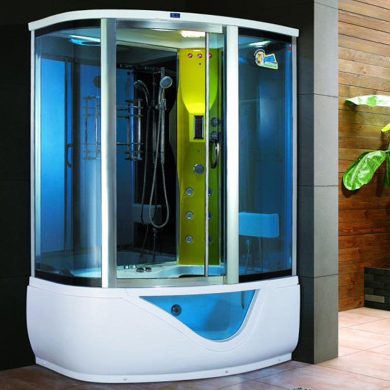 Blue glass steam room with massage bathtub ZB1015