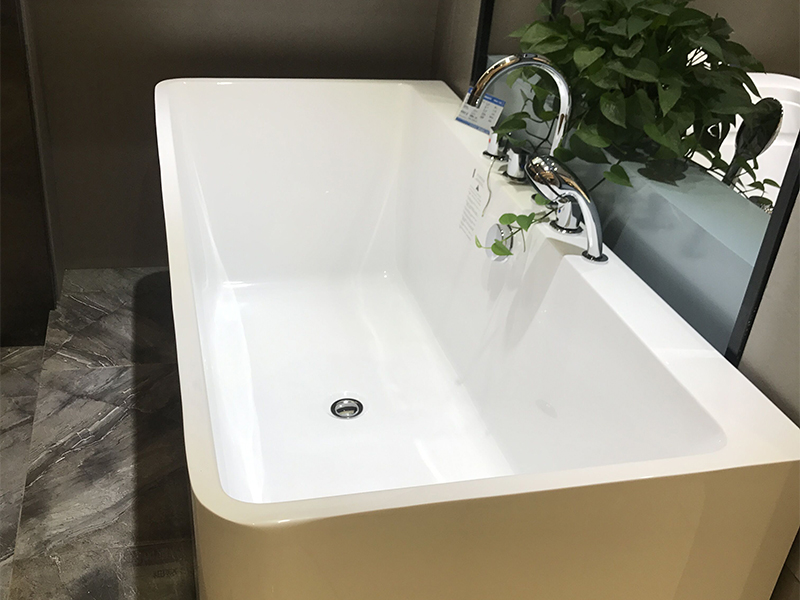 Xavier -Free Standing Baths, Indoor Freestanding Acrylic Standard Size Square Bathtubs-3