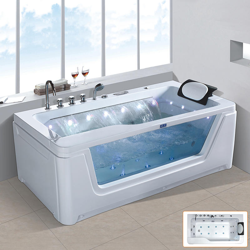 Hydromassage bathtub whirlpool massage with waterfall and glass X-2250
