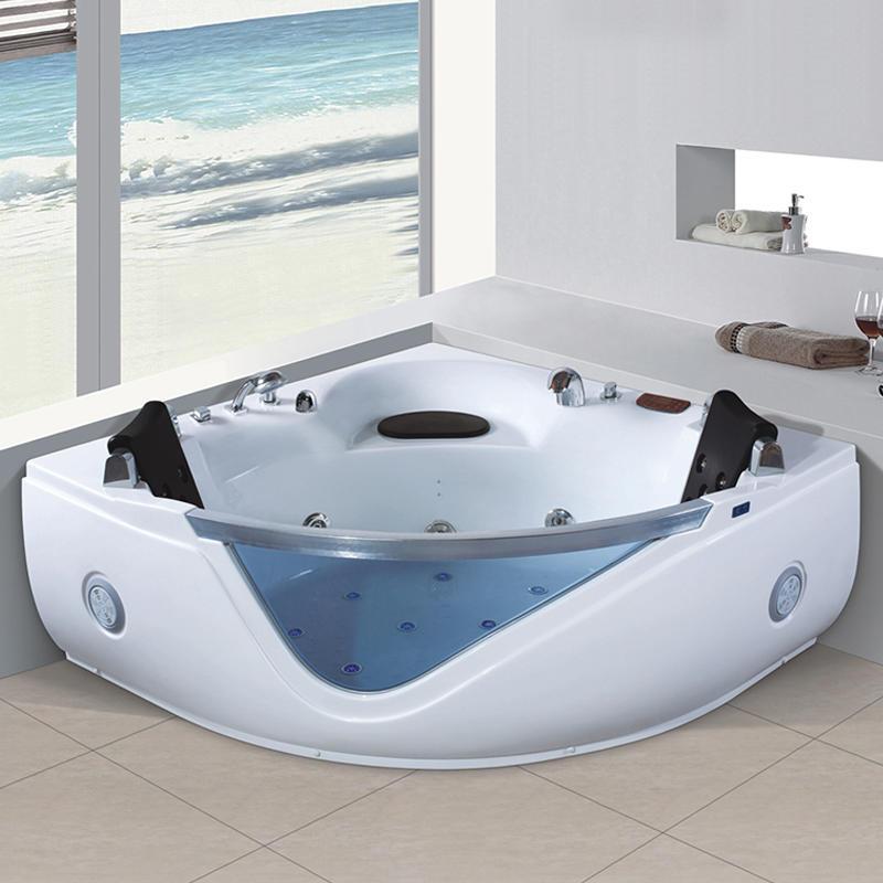 Acrylic corner whirlpool hydromassage bathtub for 2 people X-8042