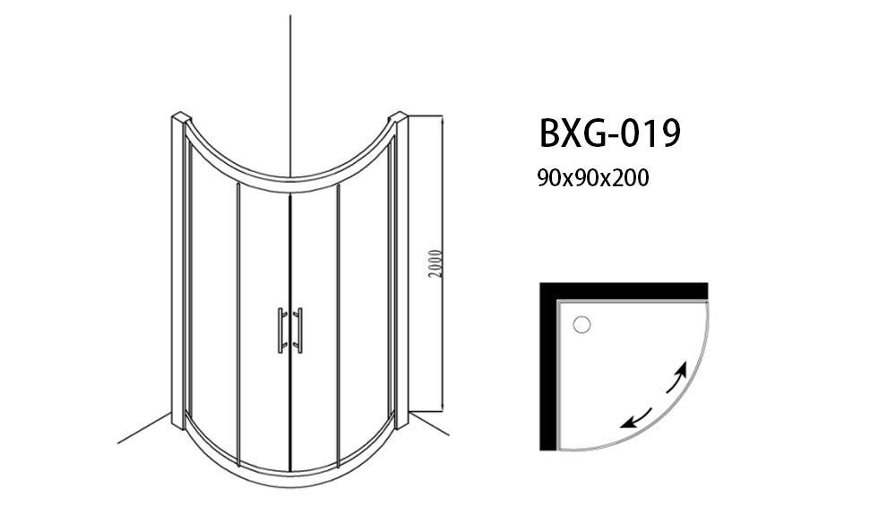 Xavier -Glass Shower Enclosures, Foshan Shower Rooms Durable Simple Hotel Shower