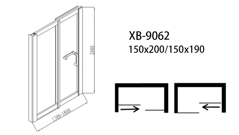 Xavier -Bathroom Shower Doors, Sliding Glass Shower Enclosure With Fixed Panel Xb-9062