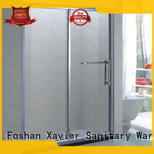 tempered aluminum corner shower doors stainless roller Xavier Brand
