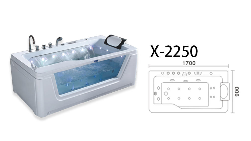 Xavier -Whirlpool Tub Hydromassage Bathtub Whirlpool Massage With Waterfall And