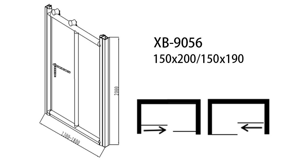 Xavier -Bath Screen | Bathroom Big Roller Bypass Sliding Glass Shower Door