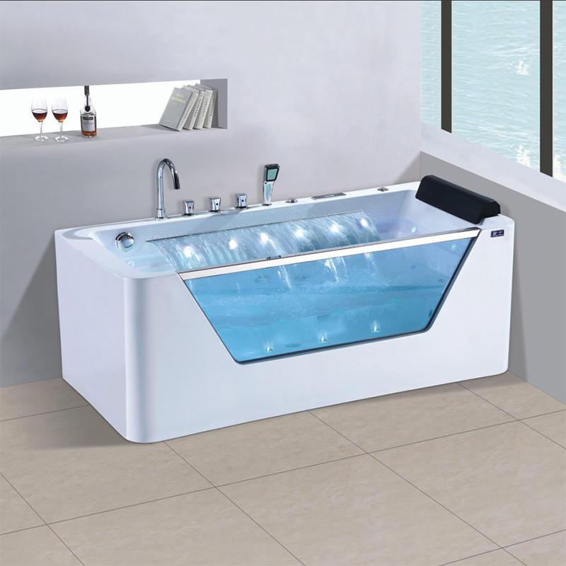Freestanding massage bathtub with waterfall X-151